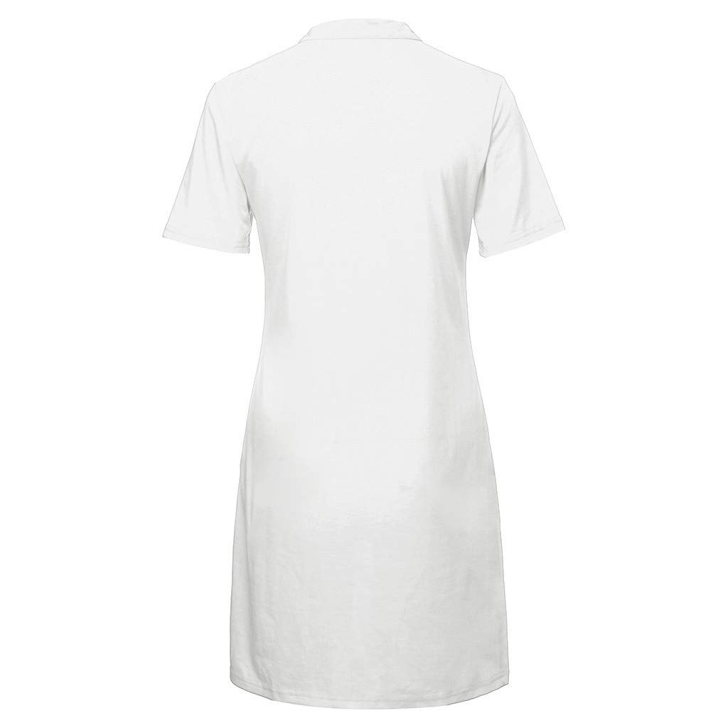 HDGJH Fashion Women Solid Summer V-Neck Short Sleeve Buttons Loose Casual Dress