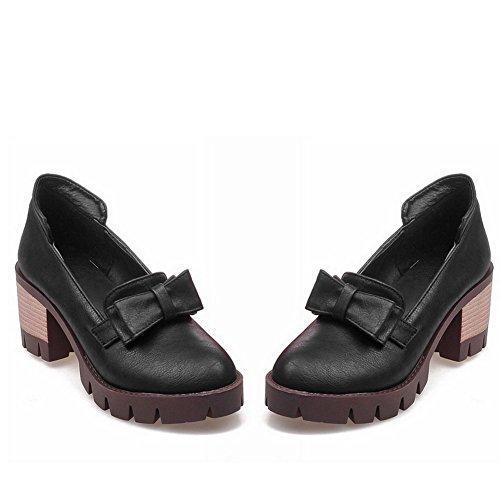 Heels Bows Urethane Balamasa Womens Round Black Pumps Chunky shoes toe qwAwIHxfYX