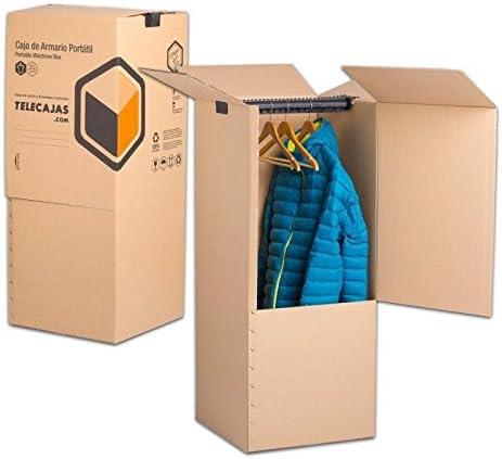 TeleCajas® | (2x) Cajas Armario Mudanza de Cartón | 50x50x100 cms - Doble Pared Reforzada | Incluye BARRA PERCHERO | Pack de 2 unidades: Amazon.es: Hogar