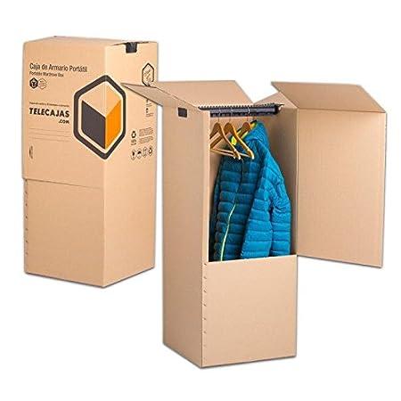 TeleCajas | (2x) Cajas Armario Mudanza de Cartón | 50x50x100 cms - Doble Pared Reforzada | Incluye BARRA PERCHERO | Pack de 2 unidades