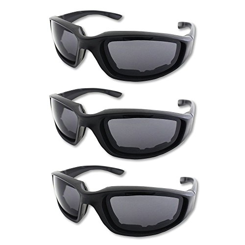 3 Pair Motorcycle Riding Glasses Padding Goggles UV Protection Dustproof WindproofMotorcycle Sunglasses with Clear Lens for Outdoor sports Actives ()