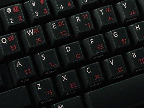 Qwerty Keys Pegatinas Teclado Coreano Transparente con Letras Rojas - Apto para Cualquier Ordenador o portátil Teclado