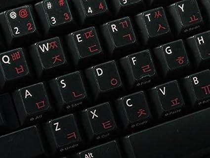 Pegatinas teclado coreano transparente con letras ROJAS - Apto para cualquier ordenador o portátil teclado