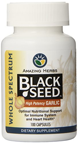 Amazing Herbs Black Seed with High Potency Garlic Capsules, 100 Count ()