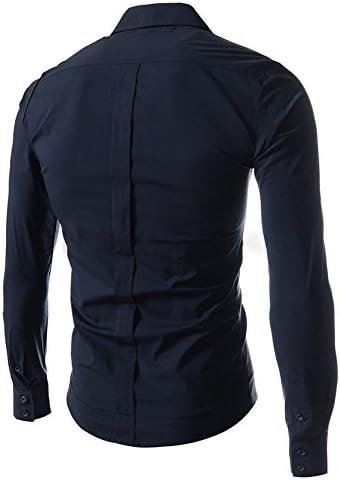 ドレスシャツ メンズ 長袖 斜めボタン ユニホーム デザイン レギュラーカラー アシンメトリ スリムフィット カットソー 4色選択 S ~ XXL 【日本向けサイズ仕様】