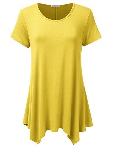JJ Perfection Womens Swing Tunic Tops Loose Fit Basic Flattering T Shirt Yellow L