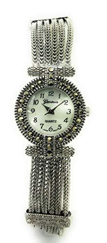 Ladies Elegant Round Marcasite Metal Link Bracelet Fashion Watch Antique Modern (Style 2)