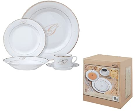Gibson Heritage Monogram 20-Piece Dinnerware Collection Letter R  sc 1 st  Amazon.com : monogrammed dinnerware - pezcame.com
