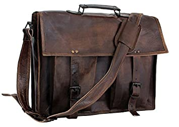 Amazon.com: ArtandCraft Leather Laptop Crossover Messenger Bag, 16 ...
