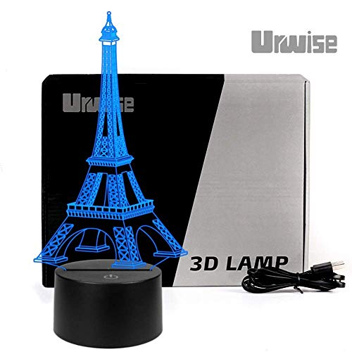 Eiffel Tower in Paris, 7 color change 3D Lamp, Night Light, Desk Lamp, Night Lamp, Home Decoration or Christmas presents for the children, USB or 5# dry battery power supply, Touch Switch Control 2821