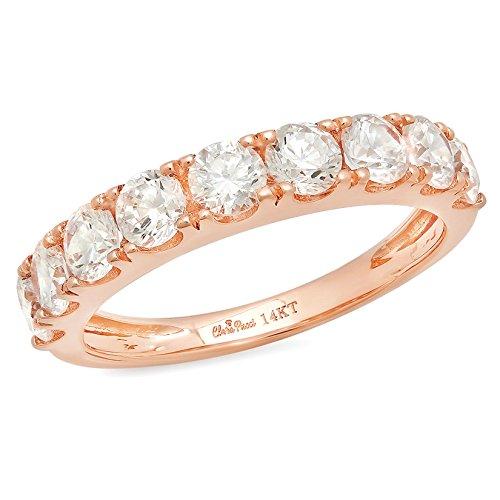 1.7 Ct Round Cut Pave Set Wedding Engagement Band Bridal Anniversary Ring 14Kt Rose Gold, Size 5.75, Clara - Rose Gold Band Tiffany