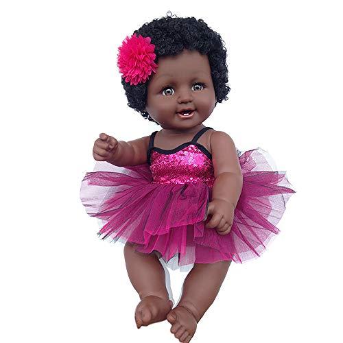 Mlide Cute Black Chocolate Skin Girl Dolls African American Play Dolls Lifelike Baby Play Dolls,Child Simulation Baby Baby Black Doll,Age Range> 3 Years Old