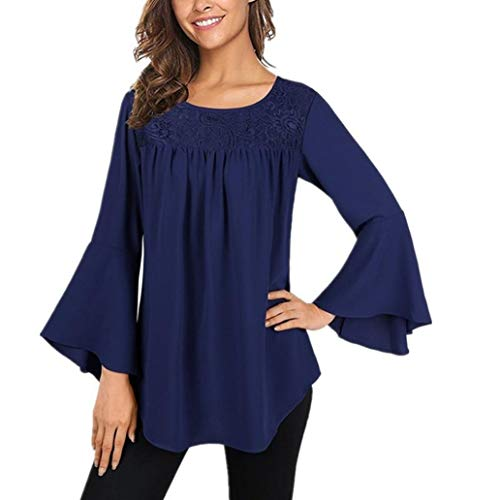 - Lace Blouse,Toimoth Fashion Women's Bell Sleeve Round Neck Shirt Tops Tank Tops(Blue,XL)