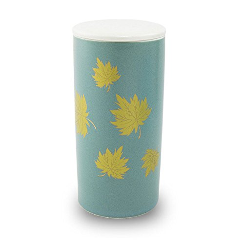 Golden Leaves Ceramic Cremation Urn for Ashes - Extra Small - Holds Up to 15 Cubic Inches of Ashes - White Memorial Urns for Ashes - Engraving Sold Separately