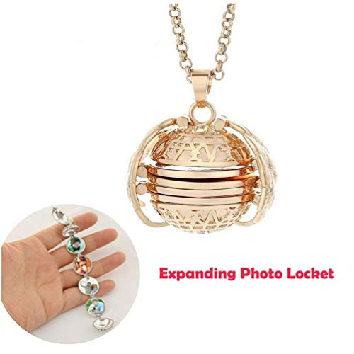TureLaugh Expanding Photo Locket Necklace Pendant 4 Pictures Frame Gift Jewelry Decoration for Kids,Women,Boys (Rose Gold)