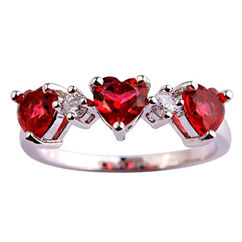 Psiroy 925 Sterling Silver Created Ruby Spinel Filled Heart Shaped 3 Stone Ring Size 10