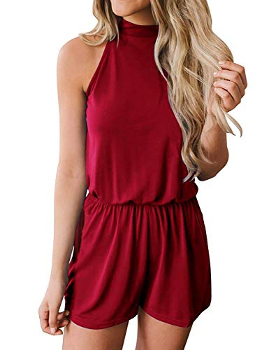 avakess Women's Summer Casual Loose Halter Neck Shorts Elastic Waist Solid Color with Pocket Jumpsuits Rompers