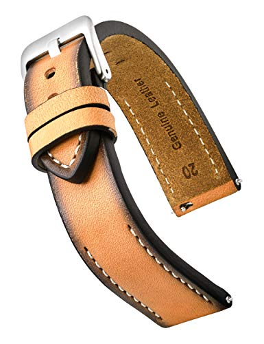Hand Painted Classic Thick Genuine Leather Watch Band with Quick Release Spring Bars -Full Grain Leather Watch Strap 22mm- tan (Genuine Leather Watches For Men)