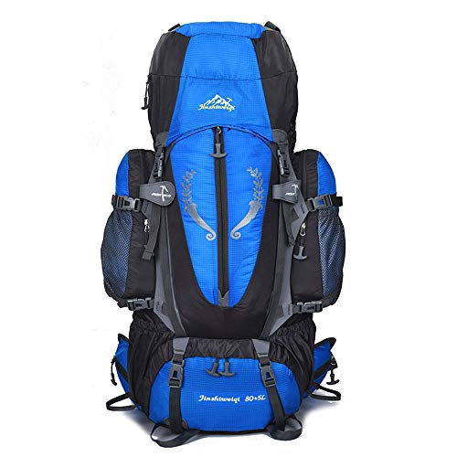 (Grtodnz 80L Outdoor Hiking Backpack, Multi-Functional Water-Resistant Casual Camping Trekking Rucksack for Cycling Travel Climbing Mountaineer Outdoor Sport,Blue)