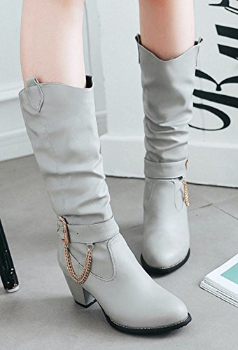 Aisun Womens Metal Chains Buckle Strap Pull On Round Toe Mid Stacked Heel Ruched Mid Calf Slouchy Boots Gray J12piRkf