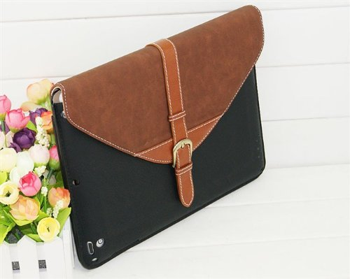Vintage 360 Stand Scaffolding Design Leather Protective Shell Skin Case Flip Folio Case Cover For New Apple IPad 5 IPad Air (Brown/Black)