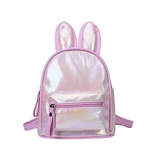 Londony ✡ Girls Rabbit Ear Cute Mini Leather Backpack, Small Backpack Purse for Women Fashion Shoulder Bag Daypack Pink