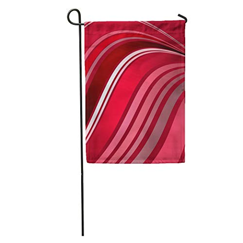 Semtomn Garden Flag Abstract of Flowing Stripes in Wavy Pattern Shades Red Pink Home Yard House Decor Barnner Outdoor Stand 12x18 Inches Flag
