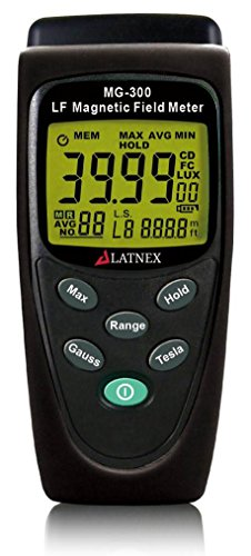 LATNEX MG-300 LF magnetic Field Meter, Measures EMF Radiation from High-Power Transmission Lines, Appliances, Electrical Wires - Used for EMF Home Inspectios ()