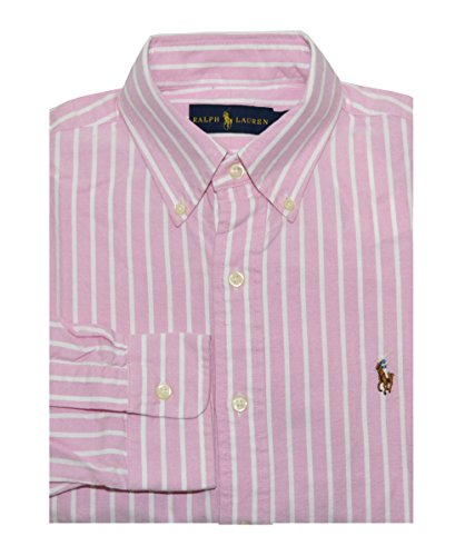 Ralph Lauren Men Long Sleeve Oxford Striped Pony Logo Shirt (L, Pink/white) (Ralph Lauren Polo Oxford)