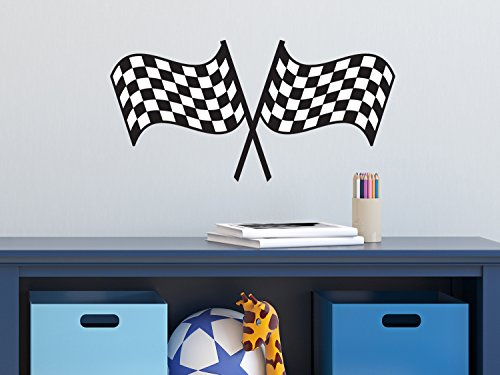 Sunny Decals Racing Checkered Flags Fabric Wall Decal