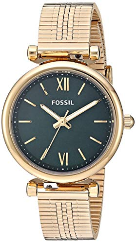Fossil Women's Carlie Mini Quartz Stainless Steel Strap, Gold, 12 Casual Watch (Model: ES4645) (Fossil Watch With Green Face)