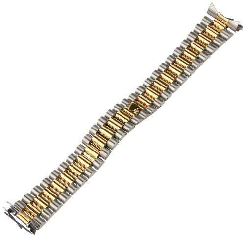 Hadley-Roma Men's MB4227RTSandC20 20-mm 14K Yellow Gold-Plated Two-Tone Watch Bracelet