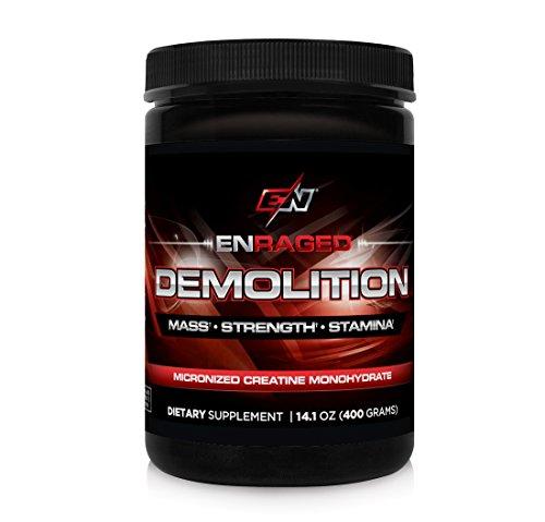 ENRAGED NUTRITION DEMOLITION Micronized Creatine Monohydrate: Sports Nutrition Supplement | Creatine Powder - No fillers, No Added Ingredients, 400g