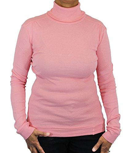Ladies Supersoft Long Sleeve Top Turtleneck (Large, Pink)