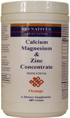 Bio Nativus Calcium Magnesium Zinc Concentrate w/ Stevia Orange 480 grams