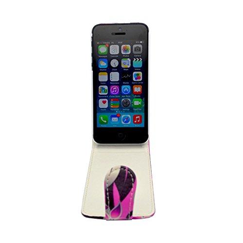 APPLE IPHONE 5C MOTIF IMPRIMÉ ROSE ET CRÈME EN CUIR SYNTHÉTIQUE GADGET BOXX