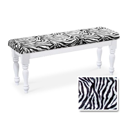 (Wood Country Style White Farmhouse Dining Bench with Zebra Cotton Print Cushion)