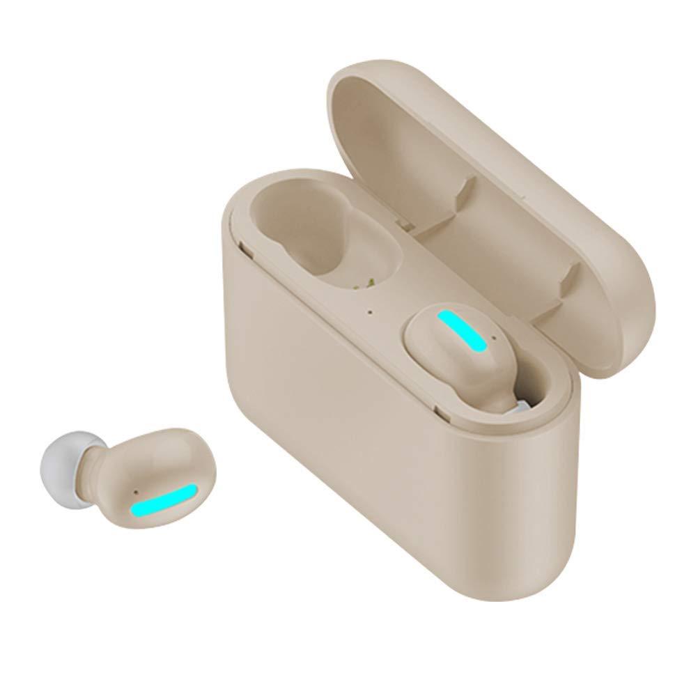 ワイヤレスイヤホン Bluetooth 5.0 イヤホン トゥルーワイヤレスインイヤーヘッドホン TWS ノイズキャンセリング Bluetooth ヘッドセット 60H 再生時間 HD Hi-Fiステレオサウンド 内蔵マイク 2600mAH充電ケース付き  カーキ(Khaki) B07PLFZ2WJ