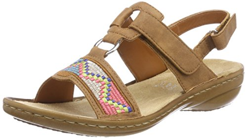 Cognac 608y0 Toe Women's Sandals 22 Rieker Closed Brown qPYawfxf