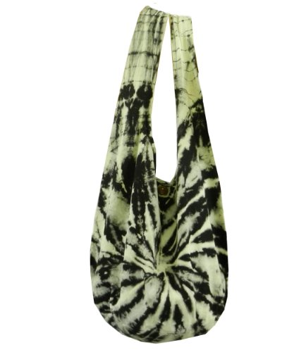 BTP! Tie Dye Sling Crossbody Shoulder Bag Purse Hippie Hobo Cotton Bohemian Black White Spiral VJ1 by BenThai Products