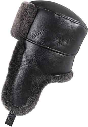 Zavelio Men's Shearling Sheepskin Trapper Russian Hat X-Large Black