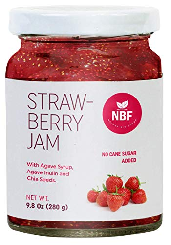- NATURA BIO FOODS Jam -REAL fruit jams - 8.82 ounce. gluten-free, organic inulin, agave nectar and chia seeds added peach, mango, pineapple, raspberry, strawberry, blackberry (Strawberry)
