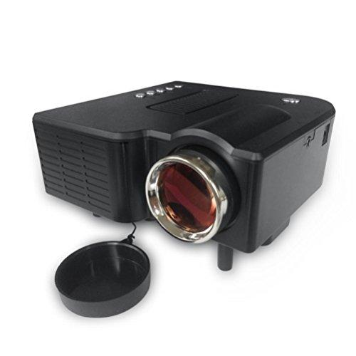 LOUSHI GM40 mini-LED home projector, 1080P portable short-focus projector (1080 P, Black)