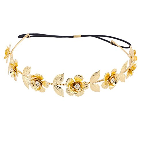 Lux Accessories Gold Tone and Crystal Stone Goddess Flower Leaf Crown Headband