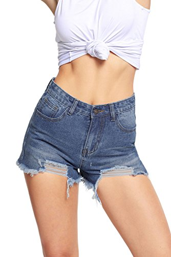 Huusa Sexy Womens Wash Denim Destroyed Casual Shorts L Light Blue