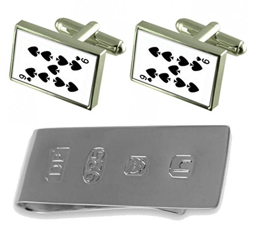 Bond amp; Card Playing Money Spades Cufflinks Clip 9 number James xfXZRfwq0n