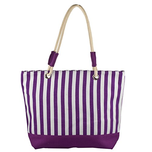 [Lux Accessories Lux Accessories Womens Zip Up Beach Bag Purple Stripes] (Packable Expandable Bags Travel Accessories)