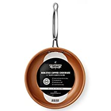 California Home Goods 24CM Non-Stick CermiTech Frying Pan, Oven Safe, Dishwasher Safe, Scratch Proof, Ceramic Titanium Blend, Copper Colored