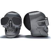 Halloween Skull Wireless Bluetooth Speaker - Tchan NFC Stereo Bass Audio Music Amplifier Loudspeaker For Computer Mobile Phone (Matte Black)