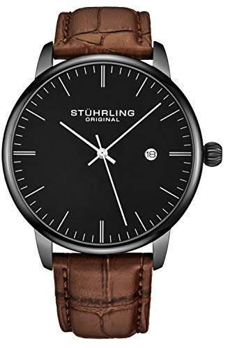 Stuhrling Original Mens Watch Calfskin Leather Strap - Dress + Casual Design - Analog Watch Dial with Date, 3997Z Watches for Men Collection (Black Brown) ()